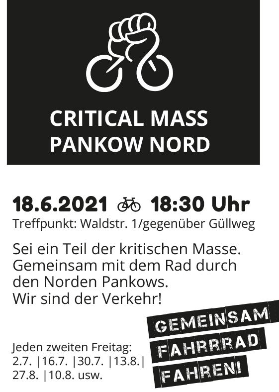 Critical Mass Pankow Nord am 18.06.2021 ab 18:30